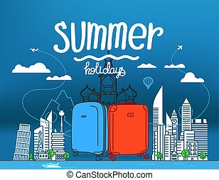 colorare, cityscape, astratto, plastica, valigie