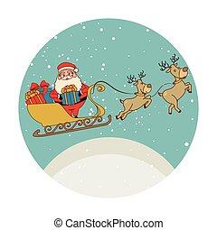 colorare, claus, presenta, forma, reindeers, santa, sleigh, circolare