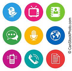colorare, comunicazione, icone