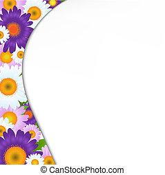 colorare, cornice, gerbers, verde, fiori, foglie