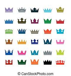 colorare, crowns., set, vettore, icone