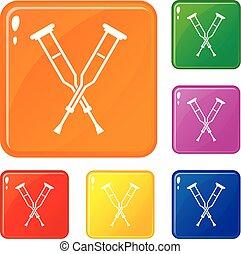 colorare, crutches, vettore, set, icone