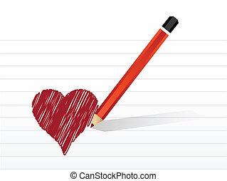 colorare, cuore, disegno, illustrazione, segno