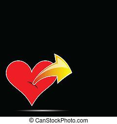 colorare, cuore, vettore, freccia, illustrazione