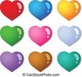 colorare, cuori, 1, vario, collezione