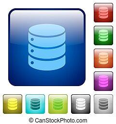colorare, database, quadrato, bottoni