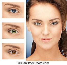 colorare, differente, donna, occhi