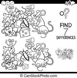 colorare, differenze, gioco, libro, caratteri, topi
