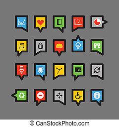 colorare, discorso, differente, nubi, icone