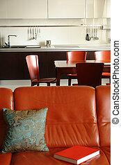 colorare, divano, dinning, posto, interno, rosso, cucina