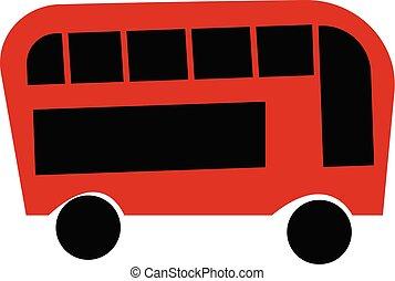 colorare, doppio, illustrazione, decker, vettore, nero, autobus, o, rosso