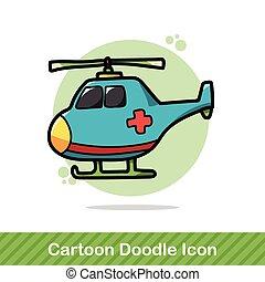 colorare, elicottero, medico, scarabocchiare