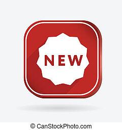 colorare, etichetta, quadrato, icona, new.