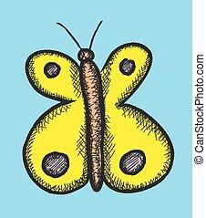 colorare, farfalla, vettore, scarabocchiare