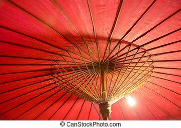 colorare, fatto mano, tailandese, ombrello, beautifu