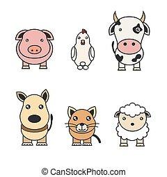 colorare, fattoria, illustrazioni, animali, pets.