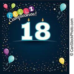 colorare, feliz, immagine, numero, spagnolo, blu, candele, spazio, -, fondo., cumpleanos, vario, bianco, palloni, felice, forma, scuro, compleanno, fondo, coriandoli, scheda, lingua, 18, augurio, vettore, write.