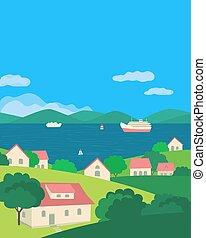 colorare, fiume, vettore, estate, appartamento, paesaggio, villaggio