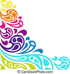 colorare, fondo., astratto, schizzo, onde