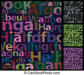 colorare, fondo., lettere