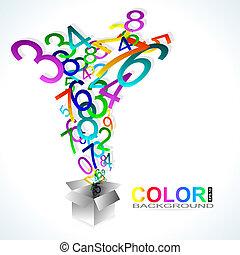 colorare, fondo., numeri