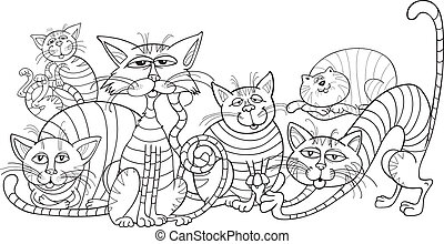colorare, gatti, coloritura, gruppo, libro