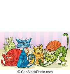 colorare, gatti, gruppo