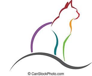 colorare, gatto, silhouette, image., disegnato