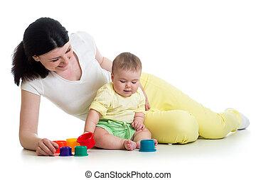 colorare, giocattoli, madre, ragazza, gioco, capretto