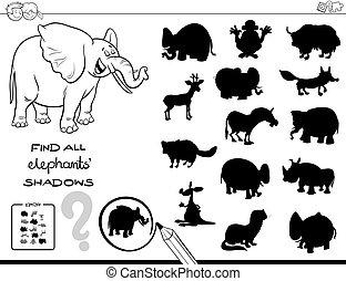 colorare, gioco, libro, uggia, elefanti