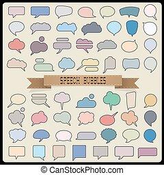 colorare, grande, bolle, set, discorso