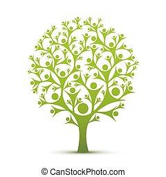 colorare, green., albero, persone, segno