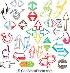 colorare, hand-drawn, frecce, collezione