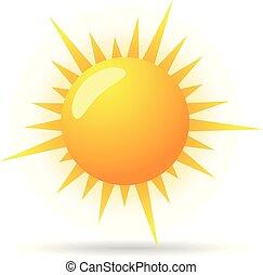 colorare, icona, -, previsione, parzialmente, soleggiato