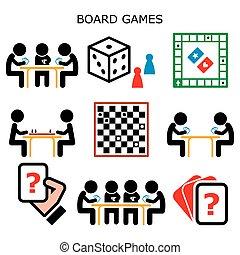 colorare, icone, dama, scacchi, famiglia, giochi, casa, tavola, attività, divertimento, o, vettore, permanenza, amici, cartelle, asse, persone, gioco, mentre, set