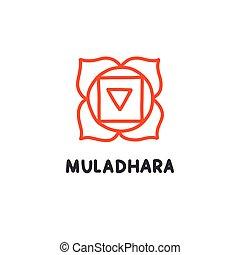 colorare, illustrazione, chakra, scarabocchiare, vettore, icona