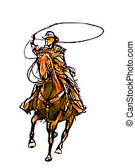 colorare, illustrazione,  cowboy