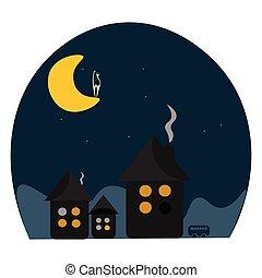 colorare, illustrazione, gatto, vettore, luna, o