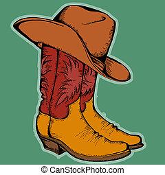 colorare, illustrazione, isolato, stivali, vettore, cowboy, disegno, hat.