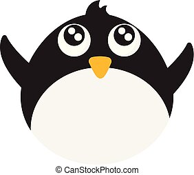 colorare, illustrazione, vettore, bambino, o, pinguino
