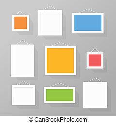 colorare, immagine, set, cornici, parete