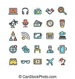 colorare, indipendente, vettore, magro, segni, linea, set., icona
