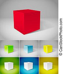 colorare, intonacare, cubi, collezione