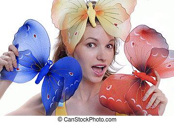 colorare, isolato, farfalle, fondo, ragazza, bianco