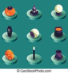 colorare, isometrico, halloween, icone
