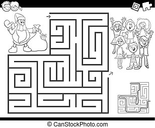 colorare, labirinto, claus, libro, santa