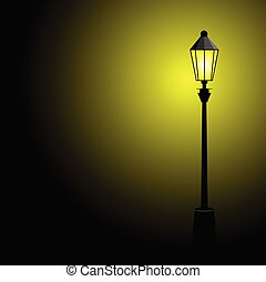 colorare, lampada, strada, vettore