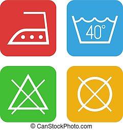 colorare, lavare, simboli, vestiti