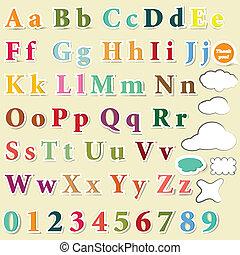 colorare, lettere, collezione, inglese