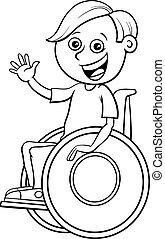 colorare, libro, carattere, carrozzella, invalido, ragazzo